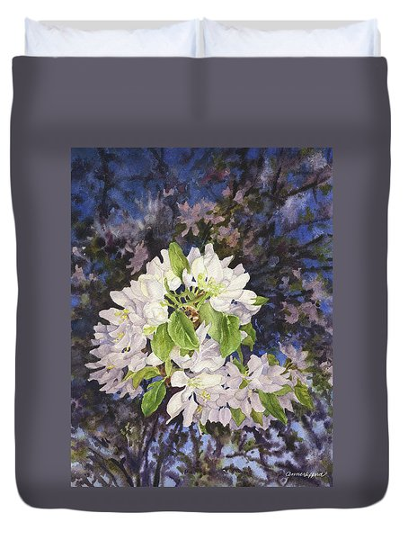 Apple Blossoms At Dusk Duvet Cover