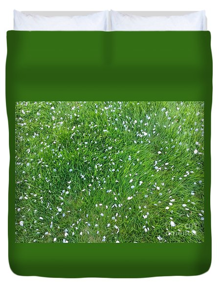 Apple Blossoms In The May Grass Duvet Cover by Patricia E Sundik