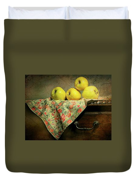 Duvet Cover featuring the photograph Apple Cloth by Diana Angstadt