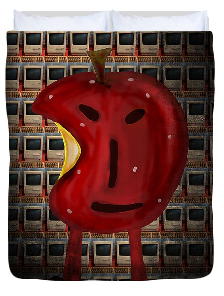 Duvet Cover featuring the digital art Apple Head by Megan Dirsa-DuBois