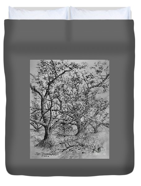 Duvet Cover featuring the drawing Apple Orchard by Jim Hubbard