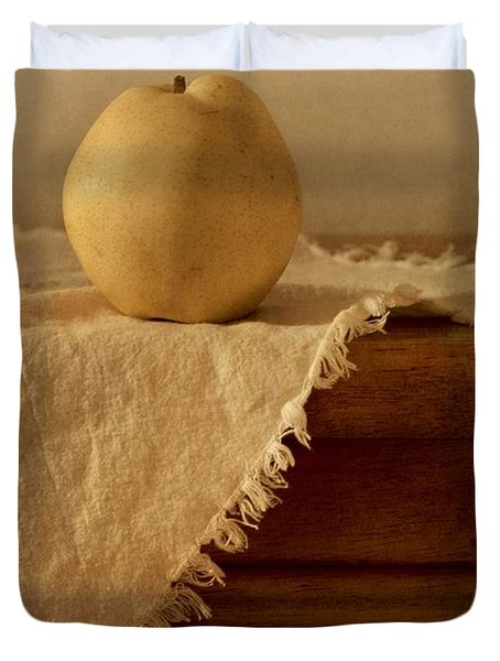 Apple Pear On A Table Duvet Cover by Priska Wettstein