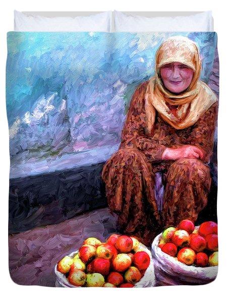 Apple Seller Duvet Cover by Dominic Piperata