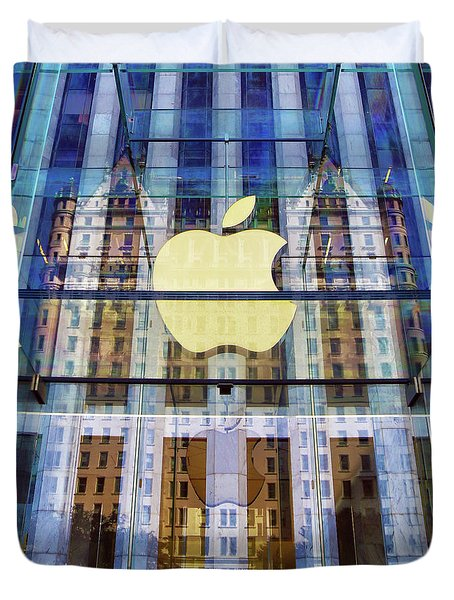 Apple Store And Plaza Hotel Reflection Duvet Cover