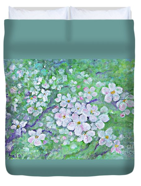 Apple Tree Flowers Duvet Cover by AmaS Art