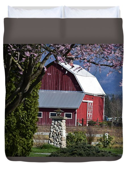 Apple Tree Pink And Barn Red Duvet Cover