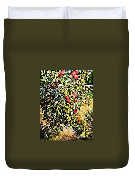 Duvet Cover featuring the painting Apple Tree by Priti Lathia