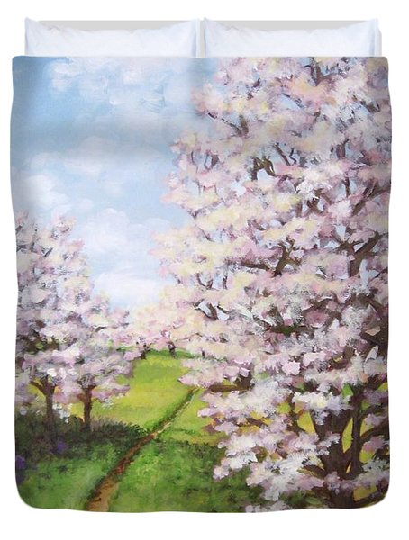 Apple Trees Along The Path Duvet Cover