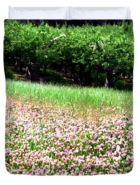 Apple Trees And Clover Duvet Cover by Will Borden