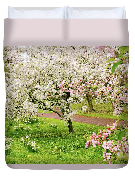 Apple Trees In Bloom Duvet Cover by Jessica Jenney