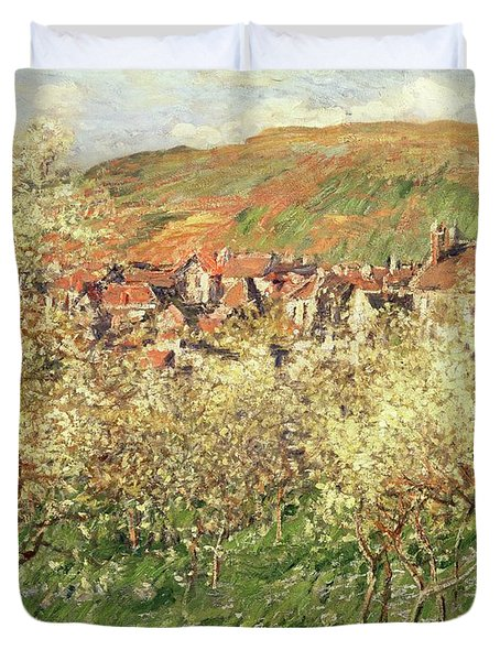 Apple Trees In Blossom Duvet Cover by Claude Monet