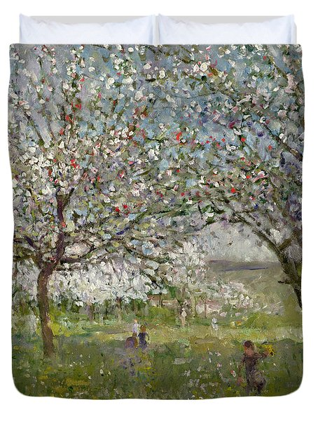 Apple Trees In Flower Duvet Cover by Ernest Quost