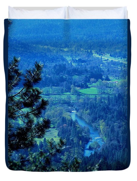 Applegate River From On Top Of Bolt Mountain Duvet Cover by Marie Neder