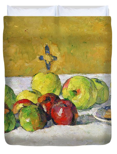 Apples And Biscuits Duvet Cover by Paul Cezanne