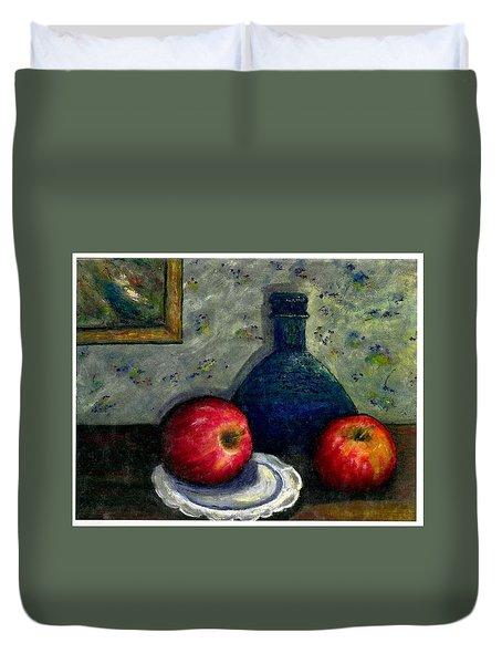 Duvet Cover featuring the painting Apples And Bottles by Gail Kirtz