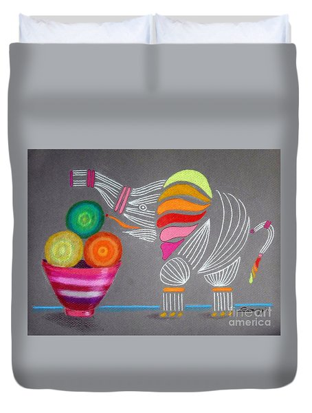 Apples And Oranges And Elephants, Oh My -- Whimsical Still Life W/ Elephant Duvet Cover