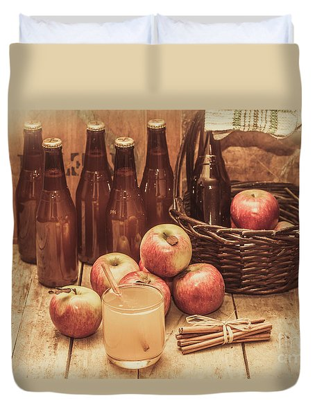 Apples Cider By Wicker Basket On Wooden Table Duvet Cover