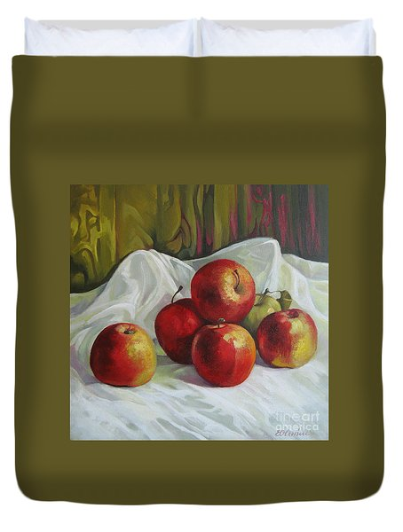 Duvet Cover featuring the painting Apples by Elena Oleniuc