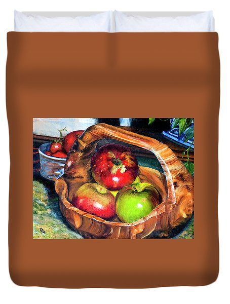 Apples In A Burled Bowl Duvet Cover