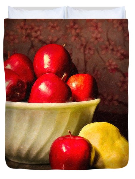 Apples In Bowl With Pear Duvet Cover