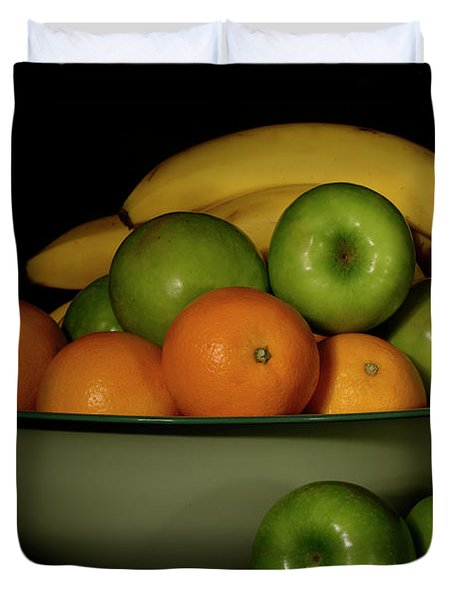 Duvet Cover featuring the photograph Apples, Oranges And Bananas 1 by Angie Tirado