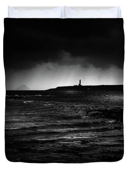 Approaching Storm, Ailsa Craig And Pladda Island Duvet Cover