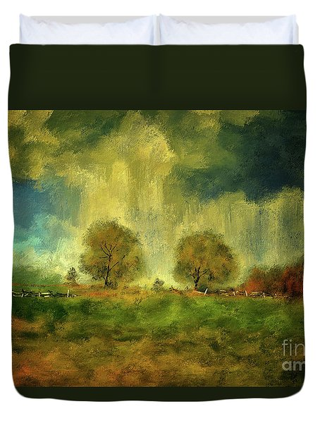 Duvet Cover featuring the digital art Approaching Storm At Antietam by Lois Bryan