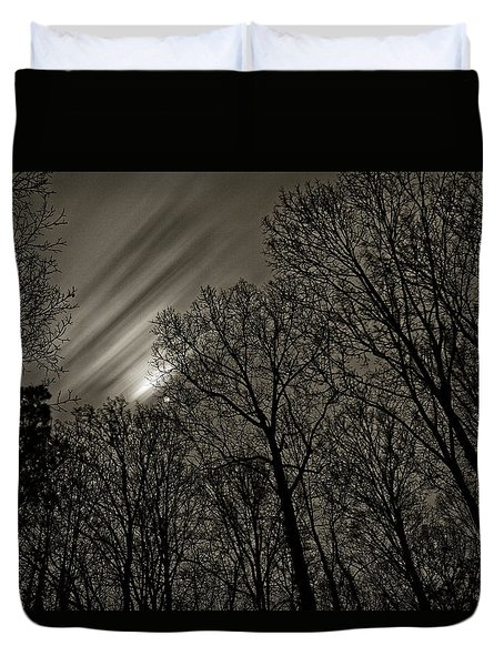 Approaching Storm, Black And White Duvet Cover