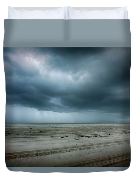 Approaching Storm On Ocracoke Outer Banks Duvet Cover by Dan Carmichael