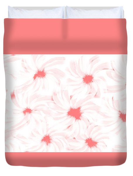 'apricot And White Flower Abstract 2' Duvet Cover