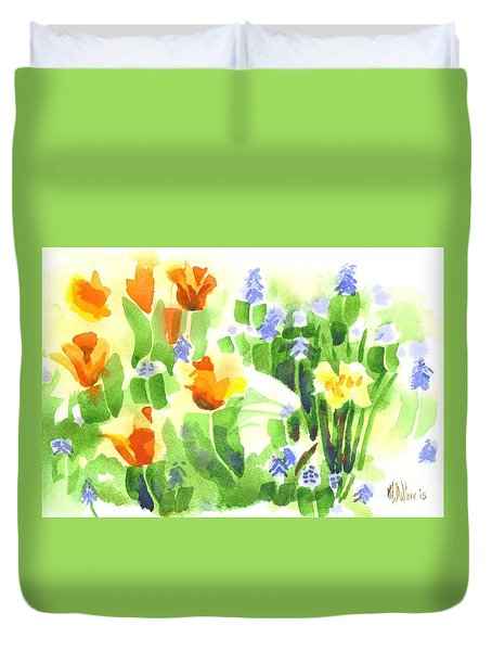 Duvet Cover featuring the painting April Flowers 2 by Kip DeVore
