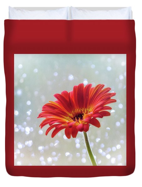April Showers Gerbera Daisy Square Duvet Cover by Terry DeLuco