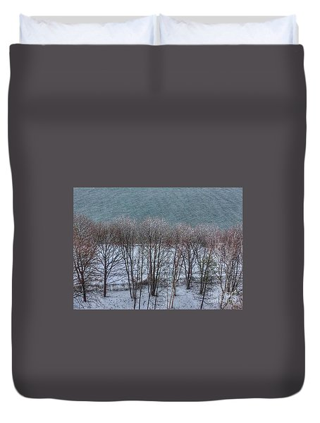 April Snow On Portland Trails Duvet Cover