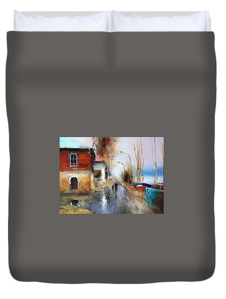 April. The River Volga Duvet Cover