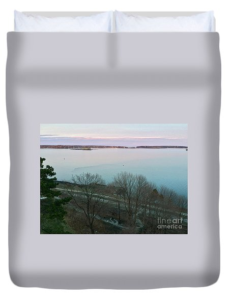April Twilight On Casco Bay Duvet Cover