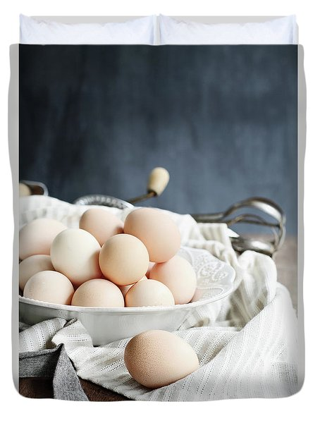 Apron And Eggs On Wooden Table Duvet Cover