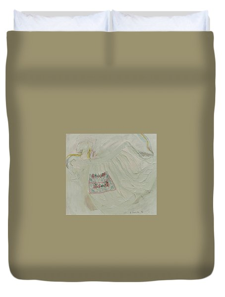 Apron On Canvas - Mixed Media Duvet Cover