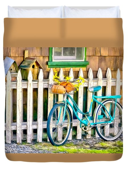 Aqua Antique Bicycle Along Fence Duvet Cover