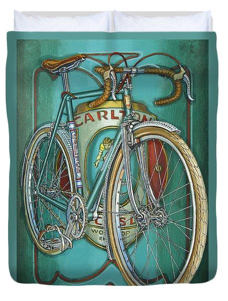 Duvet Cover featuring the painting Aqua Carlton Fixed by Mark Howard Jones