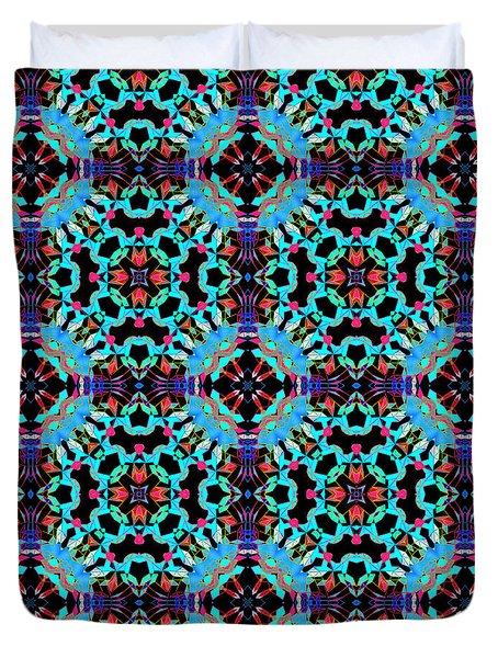 Aqua Geometric Mandala Duvet Cover