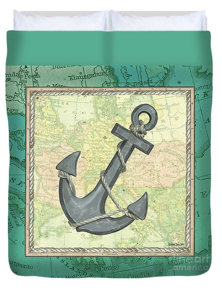 Aqua Maritime Anchor Duvet Cover