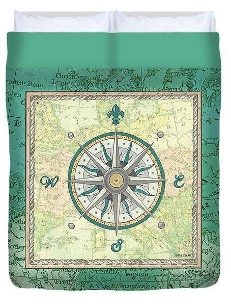 Aqua Maritime Compass Duvet Cover