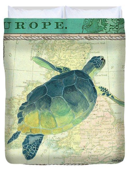 Aqua Maritime Sea Turtle Duvet Cover
