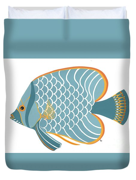 Aqua Mid Century Fish Duvet Cover by Stephanie Troxell