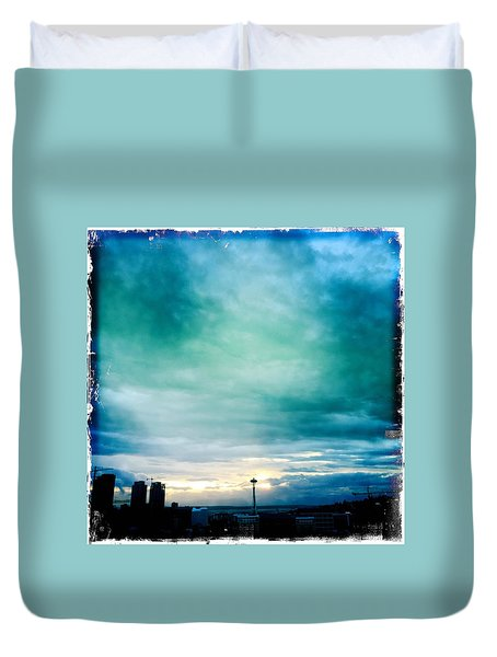 Aqua Needle Duvet Cover by Suzanne Lorenz