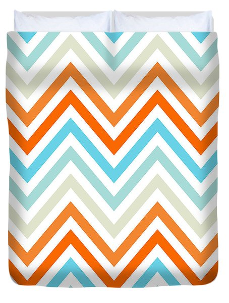 Aqua Orange Mint Chevron Duvet Cover by Bimbys Collections