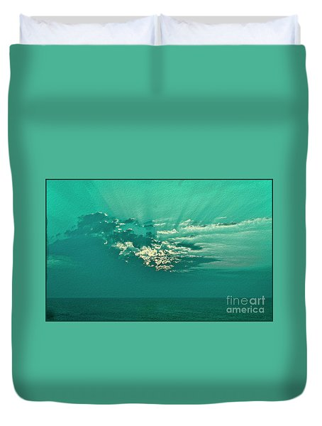 Aqua Sunset Duvet Cover