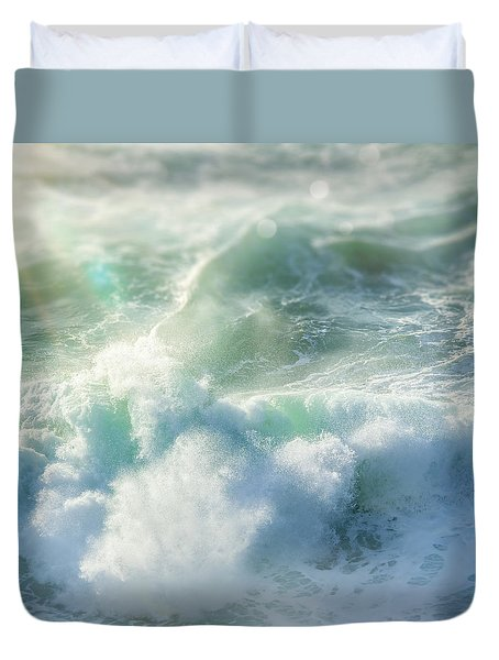 Duvet Cover featuring the photograph Aqua Surge by Amy Weiss