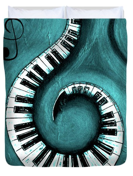 Aqua - Swirling Piano Keys - Music In Motion  Duvet Cover