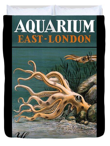 Aquarium Octopus Vintage Poster Restored Duvet Cover